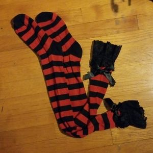 Accessories - Black and Red Sexy Thigh High Striped Socks